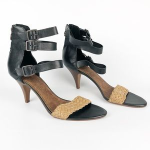 Sam Edelman Vista Open Toe Heels Leather Black